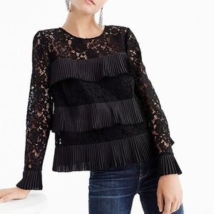 J crew lace pleated party holiday blouse NWT 4